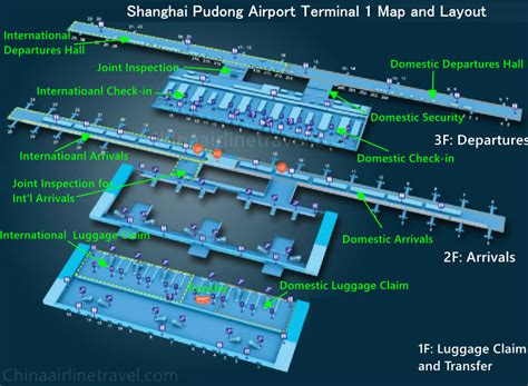 Shanghai Pudong Airport Terminal 1 and Terminal 2 Map, T1